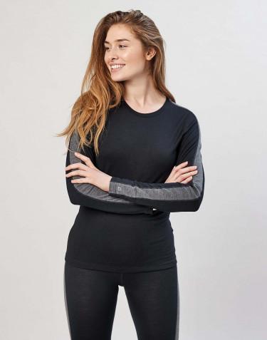 T-shirt à manches longues en laine mérinos exclusive bio noir