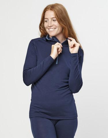 T-shirt manches longues avec capuche - laine mérinos exclusive bio bleu marine