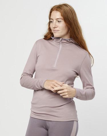 T-shirt manches longues avec capuche - laine mérinos exclusive bio vieux rose