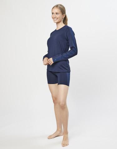Short en laine pour femme- laine mérinos exclusive bio bleu foncé