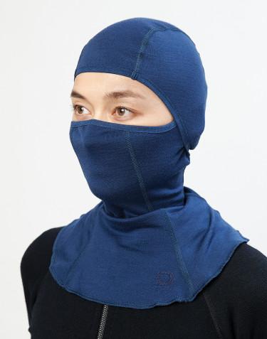 Cagoule pour femme- laine mérinos exclusive bio bleu foncé