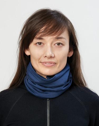 Cache-cou pour femme laine mérinos exclusive bio bleu foncé