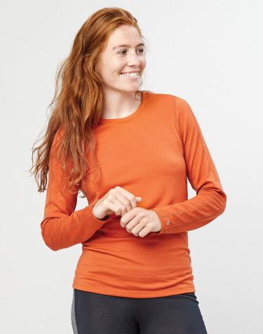 T-shirt à manches longues pour femme- laine mérinos exclusive bio orange brûlé