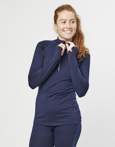 T-shirt demi-zippé pour femme - laine mérinos exclusive bio bleu marine