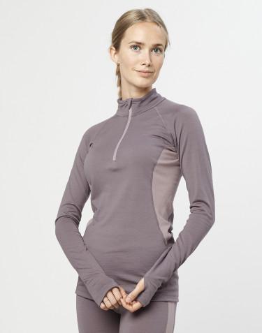 T-shirt demi-zippé pour femme - laine mérinos exclusive bio gris lavande