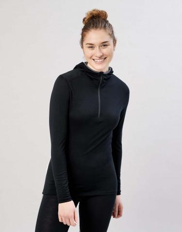 T-shirt manches longues avec capuche- laine mérinos exclusive bio noir