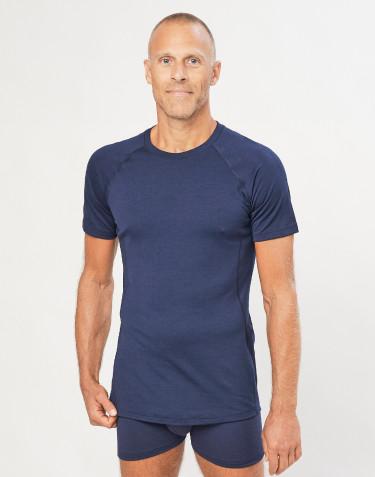 T-shirt pour homme - laine mérinos exclusive bio Bleu Marine