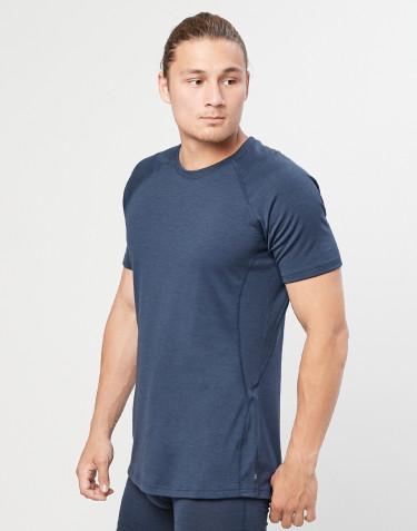 T-shirt pour homme - laine mérinos exclusive bio gris bleu