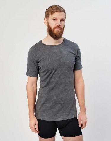 T-shirt pour homme - laine mérinos exclusive bio Mélange de gris foncé
