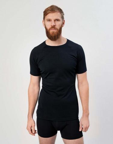 T-shirt pour homme - laine mérinos exclusive bio Noir