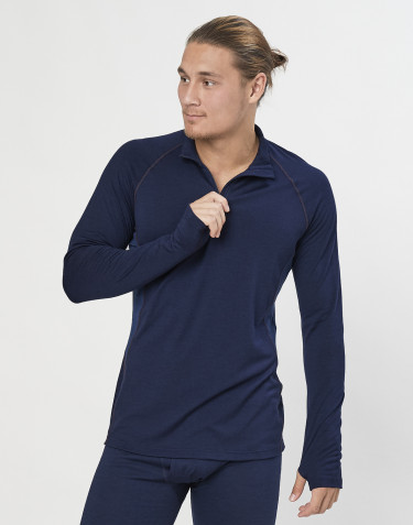 T-shirt 1/3 zip laine mérinos exclusive bio bleu marine