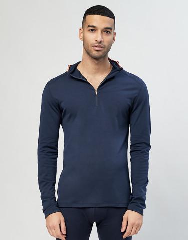 T-shirt avec capuche- laine mérinos exclusive bio bleu marine