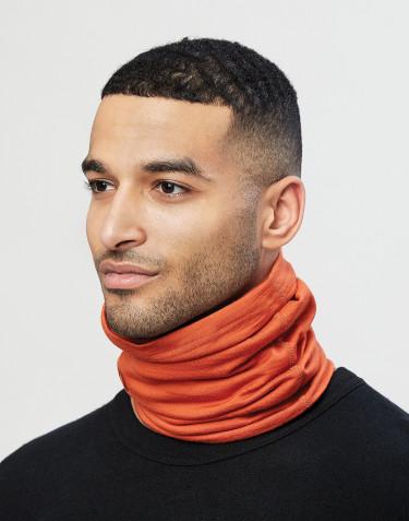 Cache-cou pour homme en laine mérinos exclusive bio orange brûlé