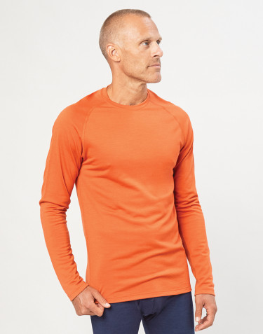 T-shirt pour homme - laine mérinos exclusive bio orange brûlé