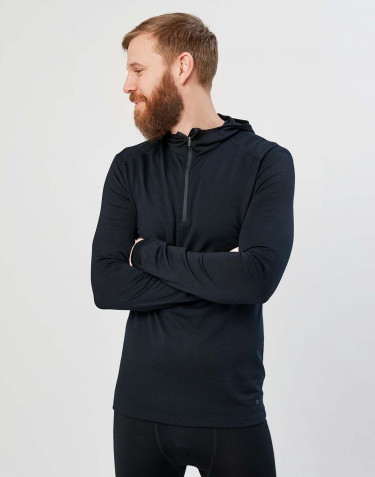 T-shirt avec capuche - laine mérinos exclusive bio noir