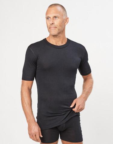 T-shirt en laine et soie pour homme Noir