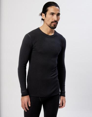 T-shirt à manches longues en laine et soie noir