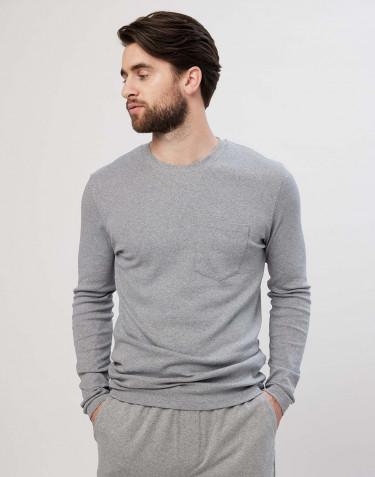Haut de pyjama en coton pour homme, mélange de gris