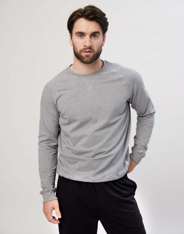 Sweat-shirt en coton pour homme Mélange de gris